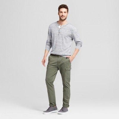 Men's Slim Fit Cargo Pants - Goodfellow & Co Olive (Green) 32x32