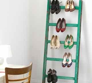 Wooden Ladder Shoe Rack!   When is a ladder not a ladder...?