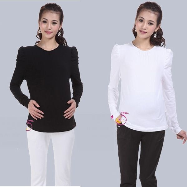 32.92$  Watch now - https://alitems.com/g/1e8d114494b01f4c715516525dc3e8/?i=5&ulp=https%3A%2F%2Fwww.aliexpress.com%2Fitem%2FLuckbao-autumn-and-winter-maternity-clothing-100-o-neck-cotton-maternity-top-basic-shirt-basic-shirt%2F1691616023.html - High Quality Long Sleeve O-Neck Maternity Cotton Basic Blouse Pregnant Women Tops Shirt Grvida Tees Roupas Para Gravidas Clothes 32.92$
