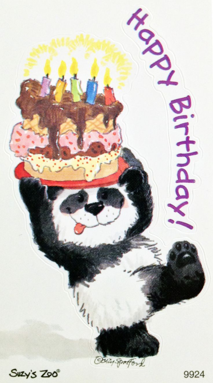 SUZY'S ZOO - Happy Birthday! - Panda w/ Birthday Cake sticker