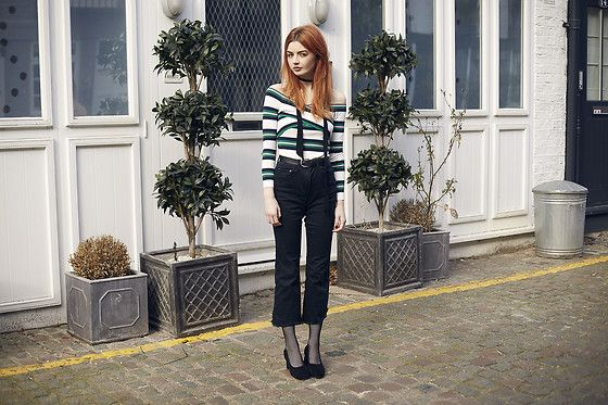 Get this look: http://lb.nu/look/8157095  More looks by Hannah Louise: http://lb.nu/hannahlouisef  Items in this look:  Topshop Stripe Bardot Top, Topshop Crop Kick Flare Jeans   #chic #edgy #vintage