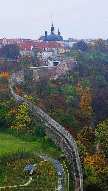Great Wall in Prague with Karlov church on top - Vyšehrad, Prague, Czechia