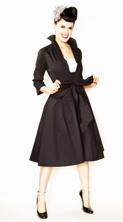 SALE! Rockabilly Girl by Bernie Dexter**Black Henrietta Swing Dress Coat - Unique Vintage - Cocktail, Pinup, Holiday & Prom Dresses.