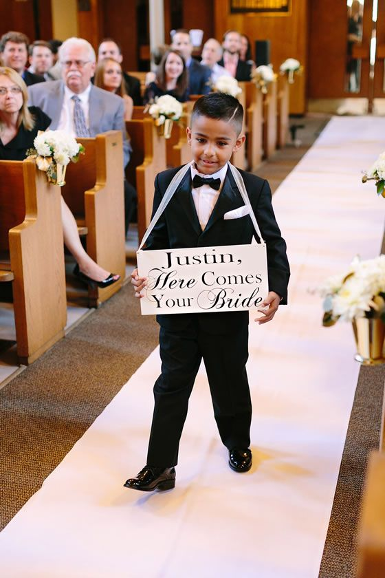 Adorable sign + ring bearer | Assumption Catholic Church + School of the Art Institute of Chicago | Katherine Salvatori Photography