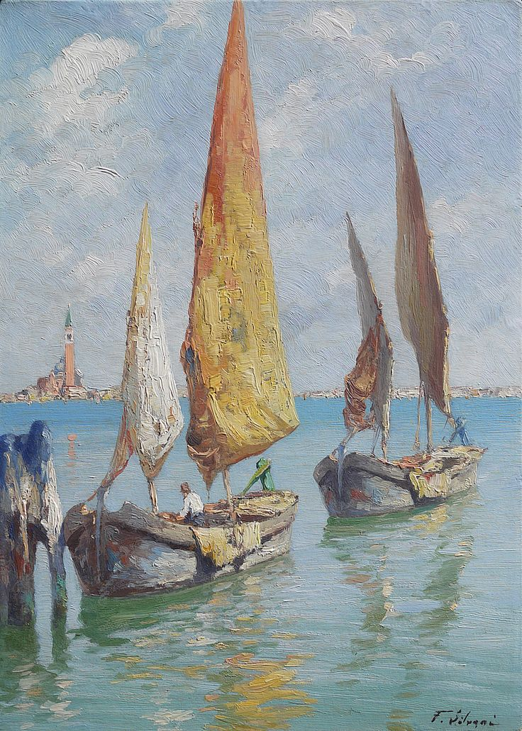 """Salviati Giovanni - Bragozzi in laguna - """"Bragozzi"""" boats in Venice lagoon - лодки в лагуне Венеции"""