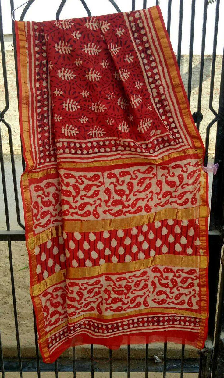 Bagru hand block printed silk Cotton Saree with blouse in bagru print nd Dabu naptol, natural dye nd color