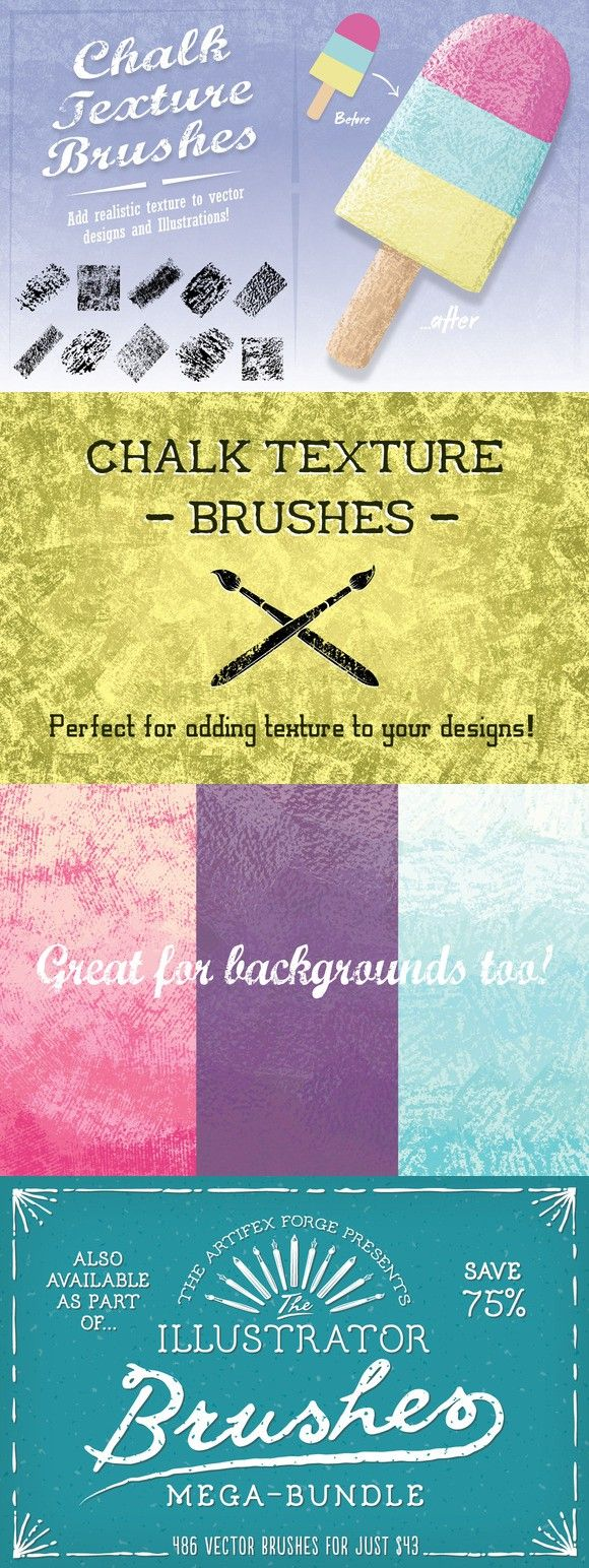 Chalk Texture Brushes. Photoshop Brushes. $8.00