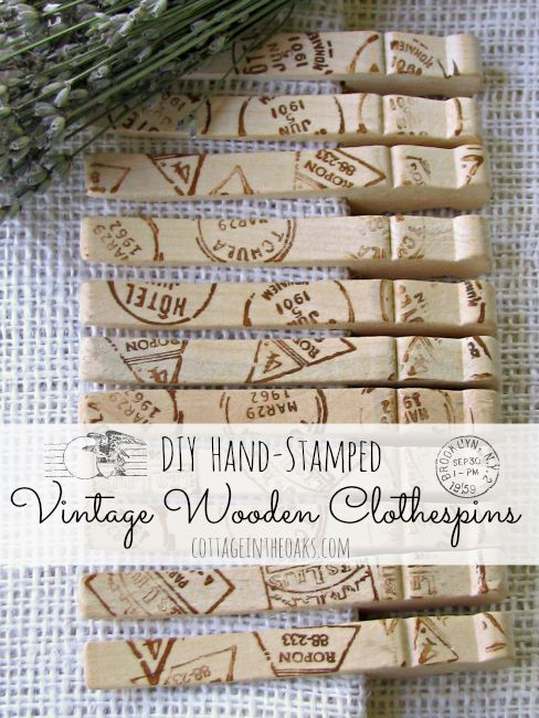 DIY Stamped Vintage Wooden Clothespins
