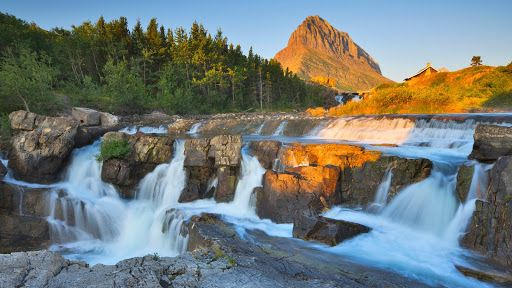 Free Nature Pictures: Swiftcurrent Falls, Glacier National Park, Montana...