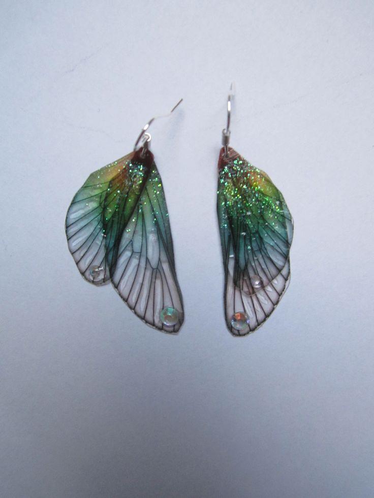 boucles d'oreilles argent vintage elfique fée ailes libellule dégradé : Boucles d'oreille par melledenevers