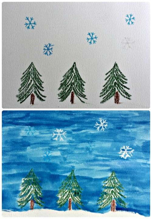 {Fun Winter art project!!} Enjoy experimenting with art!  Test Watercolor resist on snowflakes with oil pastels, crayons and markers in this fun STEAM project.