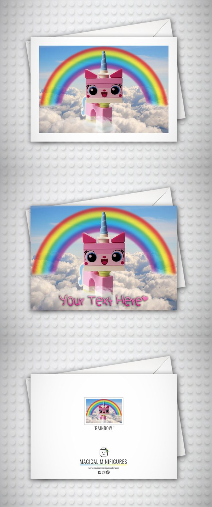UniKitty - The Lego Movie - Birthday Card - Thank You Card - Lego Minifigure - Cat - Personalised Card - Card for Her - Cat Lover - Cards for Girls - Lego Card - Rainbow - Unicorn