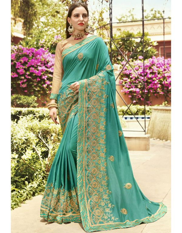 ba20cf5125d93c Sea Green Embroidered Party Wear Saree