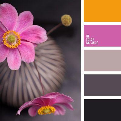 anaranjado, color gris, color gris oscuro, colores para la decoración, gris pardusco, gris rosado, marrón grisáceo, negro, paletas de colores para decoración, paletas para un diseñador, rosado, rosado y anaranjado, tonos grises.