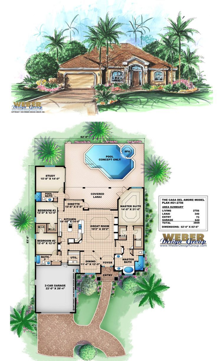 Waterfront House Plan Golf Course Waterfront Lot Home Floor Plan Pool House Plans Waterfront Homes Architectural House Plans