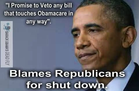"""I promise to veto any bill that touches Obamacare in any way."" ~ B.H. Obama... but he still blames the republicans. Ya ... blaming others for his faults, mistakes, and screw-ups is his modus operandi (MO)."