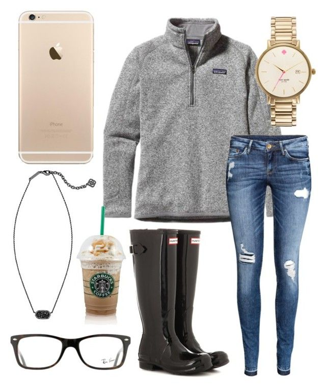 """Rainy day☔️"" by jadenriley21 on Polyvore featuring Patagonia, H&M, Hunter, Kate Spade, Kendra Scott and Ray-Ban"