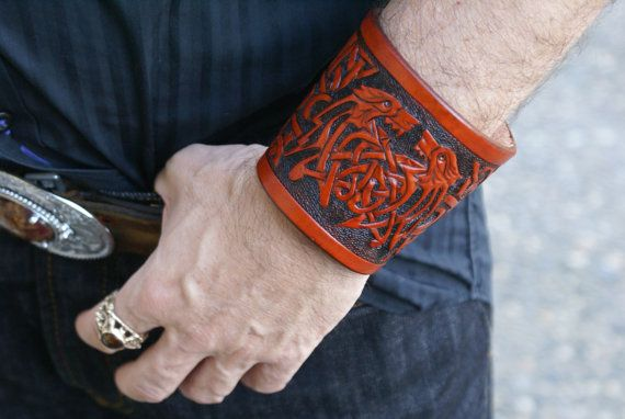 Leather Wristband Celtic -Celtic Wolves-Leather Wristband- Celtic Beasts Wristband-Leather Wristbands-Bracer-Viking Bracer-Leather Wristband
