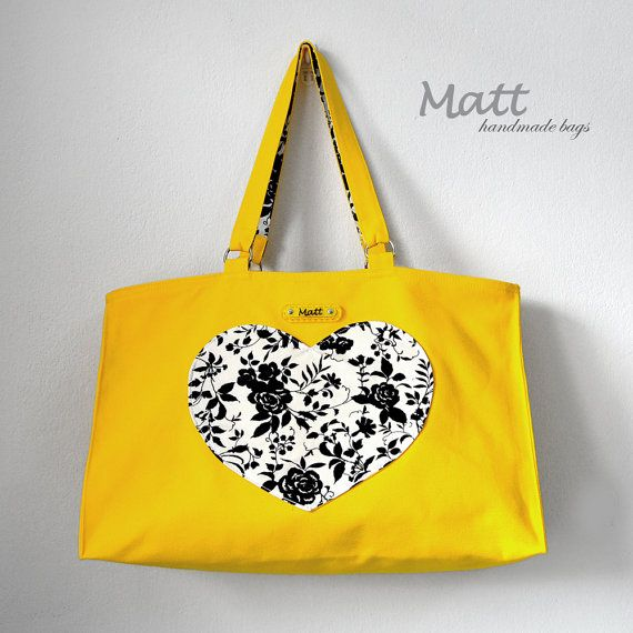 Large yellow canvas tote bag, shoulder bag, Heart shaped pocket bag, cotton full lining, black and white flower accent fabric