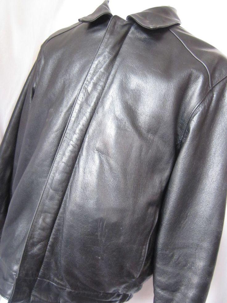 Coat Leather Medium Bostonian Moores Black Mens Aviator Bomber Motorcycle Jacket - eBay Seller Username janna!