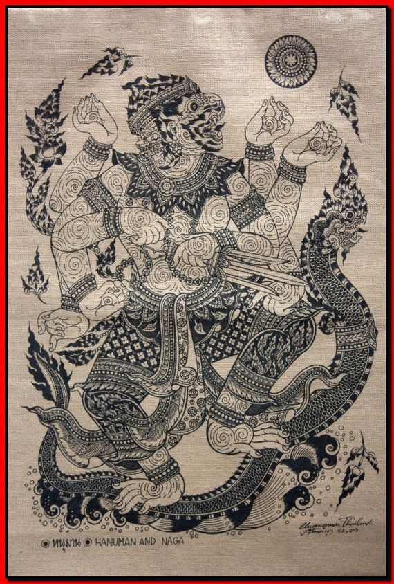 Thai traditional art of Hanuman And Naga by silkscreen printing on cotton (1)