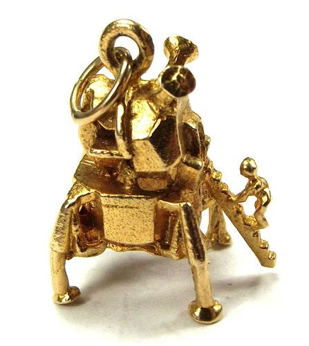Vintage 9ct Gold Charm 1st Moon Landing Neil Armstrong