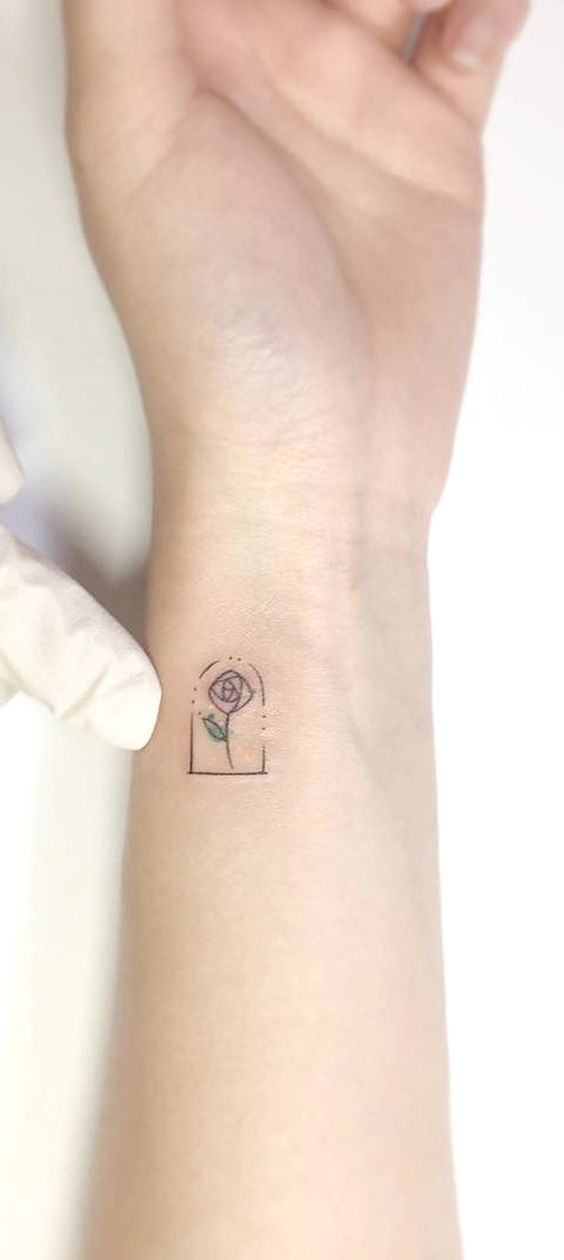 Small Flower Wrist Tattoo Ideas - Beauty and the Beast Disney Watercolor Rose Arm Tatouage - www.MyBodiArt.com #WristTattoos