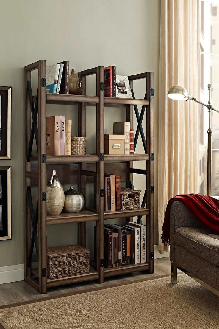 Ameriwood home wildwood rustic metal frame bookcase room for Ikea backless bookcase