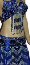 3pc Royal Blue Silver Elegant Glamour Belly Dance Dancing Costume UK 12/14-16/18