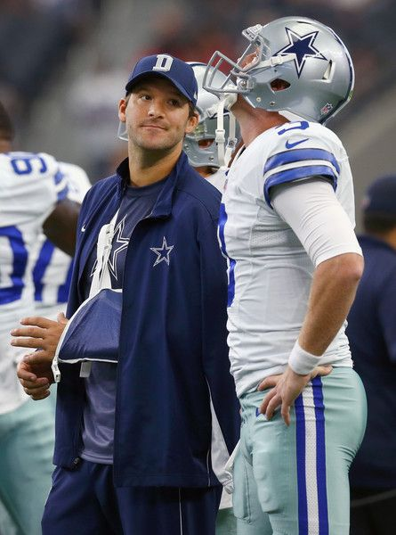 Tony Romo Photos Photos - Tony Romo #9 of the Dallas Cowboys talks with Brandon Weeden #3 of the Dallas Cowboys before the Cowboys take on the Atlanta Falcons at AT&T Stadium on September 27, 2015 in Arlington, Texas. - Atlanta Falcons v Dallas Cowboys
