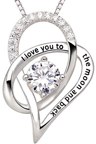 """SALE PRICE $39.99 - ALOV Jewelry Sterling Silver """"I Love You To The Moon and Back"""" Love Heart Pendant Necklace"""