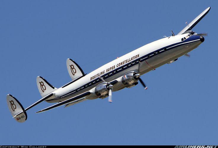 Lockheed L-1049F Super Constellation Breitling .  Story :  http://www.conniesurvivors.com/1-breitling_super_connie.htm