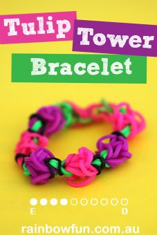 How To Make a Rainbow Loom Tulip Tower Bracelet|Rainbow Loom Patterns|Rainbow Loom Band Instructions