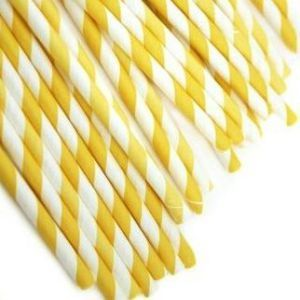 Paper Straws - Yellow Stripes