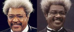 "Don King, American boxing promoter, promoted some of boxing's biggest stars, like Muhammad Ali, Joe Frazier, and Mike Tyson.  Ving Rhames in the TV movie ""Don King: Only in America""."