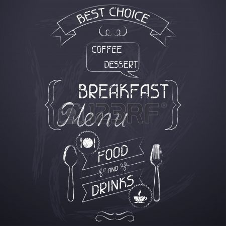 Frühstück auf der Restaurant-Menü Tafel