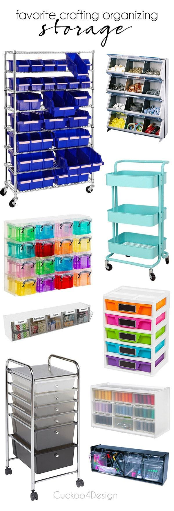 favorite crafting organizing storage | rolling craft cart | rolling storage | craft storage | craft organizing | slime organizing | slime storage | crafting storage | drawer storage | tilt bins | #craftstorage #slimestorage #crafting  via @jakonya
