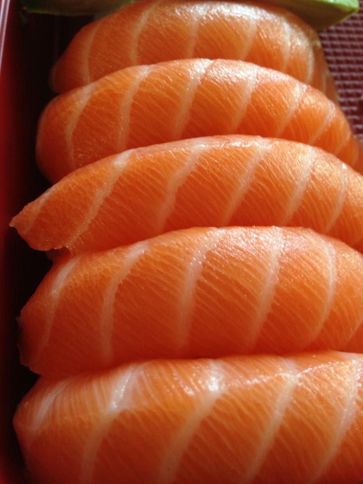 Salmon nigiri. Heaven on a plate.
