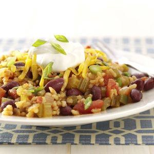 Mexican Beans and Rice Recipe from Taste of Home -- shared by Lorraine Caland of Shuniah, Ontario