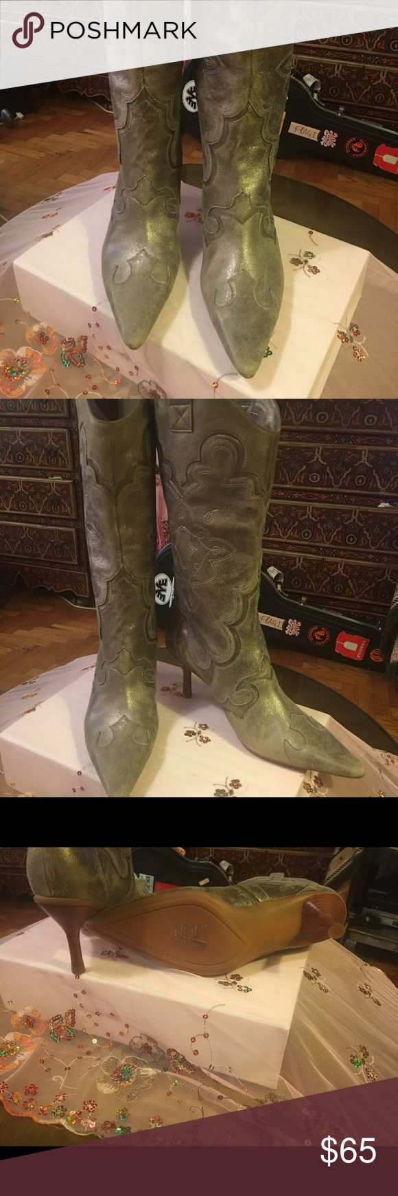 Kenneth Cole Reaction High Heel Cowboy Boot 8.5 Kenneth Cole Reaction High Heel Cowboy Boot 8.5 gorgeous metallic brand new never worn Dressy boots! Kenneth Cole Reaction Shoes Heeled Boots