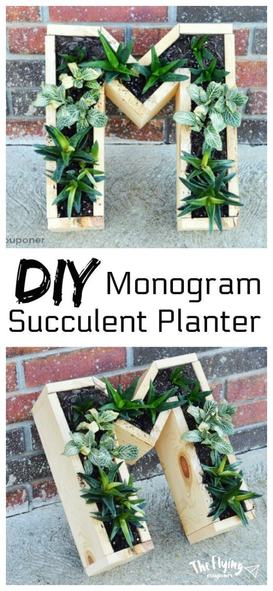 DIY Monogram Succulent Planter. Easy wood project for beginner that sell. Quick, small, and unique reclaimed wood project. The Flying Couponer. #DiyWo…