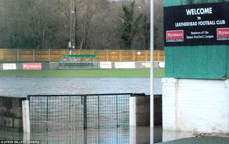 Waterlogged ground, like that at Leatherhead Football Club, has forced a number of sporting fixtures to called off. Two FA cup ties and hors...