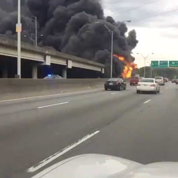 """4,233 Likes, 339 Comments - Everything Georgia (@gafollowers) on Instagram: """"There's a MASSIVE fire currently on I-85 near GA-400. 😳🔥🔥🔥🔥"""""""