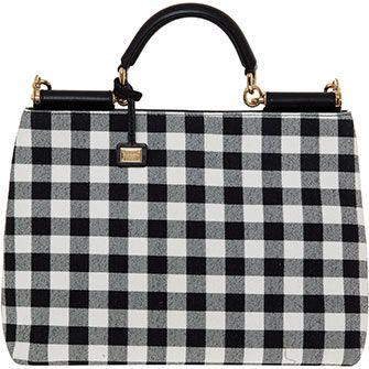 Black & White Gingham Print Shoulder Bag
