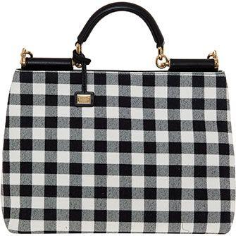 Black & White Gingham Print Shoulder Bag