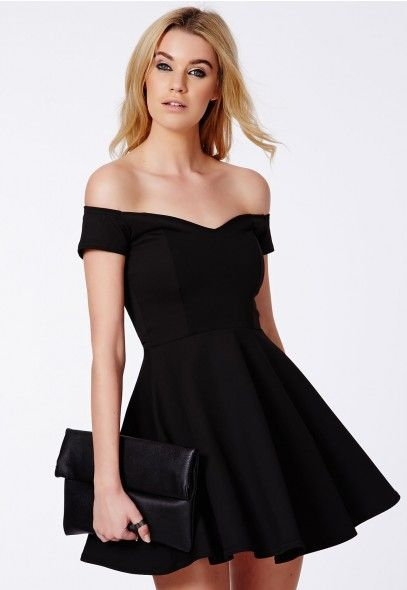 """Satyra"" bardot, off-the-shoulder skater dress via @missguidedcouk #fashion #trends"