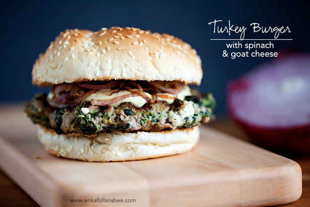 Turkey Burger With Spinach And Goat Cheese