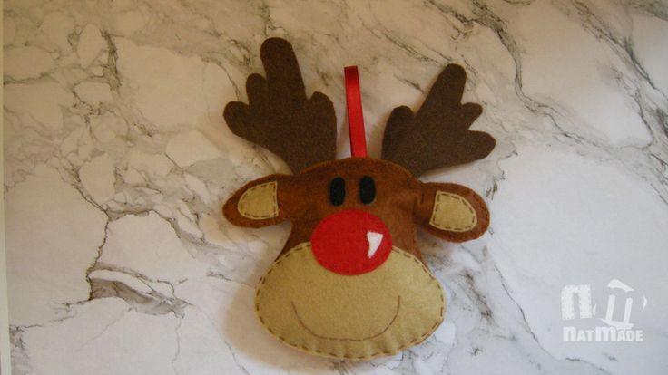 Christmas ornaments felt Rudolph Reindeer ornament Christmas felt ornaments The…
