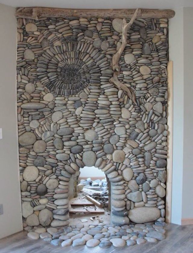 Beautiful river rock fireplace.