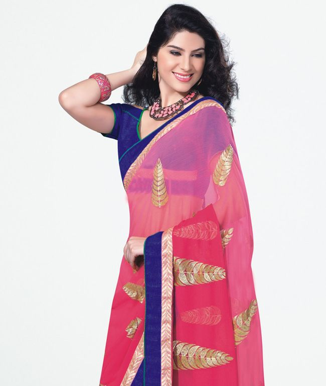 Time for your ethnic wear collection to taste perfection with this marvellous range of sarees. Beautifully crafted and elegantly designed, these are just enough to complete your wardrobe. Drape it in style and flaunt various colors with great poise and grace. BRAND: Viva N DivaCATEGORY: Saree with Unstitched BlouseARTICLECOLOURMATERIALLENGTHSareePinkArt Chiffon5.40 metersBlouseBlueArt Chiffon0.80 meterWe would always want to send you what we showcase but there might be a slight variation in…